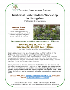 Flyer for Bev Axelsen Medicinal Garden Plants Workshop May 2017