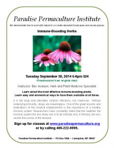 Immune Boosting Herbs class flyer-30sept14