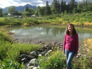 Mona Lewis Certified Permaculture Designer at PPI pond 29June2014